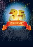 Thirty-fifth anniversary. Background with design elements for the poster celebrating thirty-fifth anniversary Stock Photography
