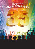 Thirty-fifth anniversary. Colorful crowd of cheering people celebrating thirty-fifth anniversary Royalty Free Stock Images