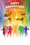 Thirty-fifth anniversary. Colorful crowd of dancing people celebrating thirty-fifth anniversary Stock Image