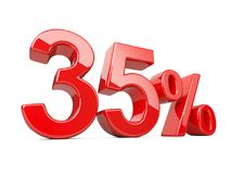 Thirty five five red percent symbol. 35% percentage rate. Specia. L offer discount. 3d illustration isolated over white background Royalty Free Illustration