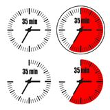 Thirty five Minutes Clock on white background. Four options Stock Illustration