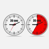 35 seconds clock on gray background. Thirty five Seconds Clock on gray background. Two options.35 seconds timer. Stopwatch icon. Clock icon.  Vector illustration Stock Image