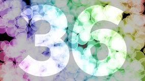 Thirty five to thirty six years birthday fade in/out animation with color gradient moving bokeh background. Animation: 90 frames still with number, 180 fade vector illustration