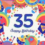 35 Thirty five year birthday party greeting card. Happy Birthday thirty five 35 year fun design with number, text label and colorful decoration. Ideal for party Royalty Free Stock Photography