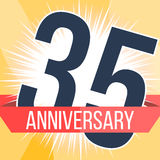 Thirty five years anniversary banner. 35th anniversary logo. Vector illustration. Stock Image