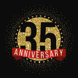 Thirty five years anniversary celebration logotype. 35th anniversary logo. Anniversary banner Royalty Free Stock Images