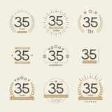 Thirty five years anniversary celebration logotype. 35th anniversary logo collection. Stock Images
