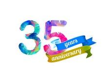 35 thirty five years anniversary. Vector triangular digits Royalty Free Stock Photo