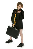 Thirty and Flirty. Thirty something business woman in man's shirt and tie with briefcase royalty free stock photo