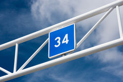Thirty four. A blue sign showing the number 34 stock photos