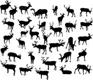 Thirty four deer silhouettes Royalty Free Stock Photos