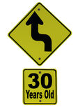 Thirty is Just Around the Corner. A humorous road sign indicating a 'bend in the highway' on the road to thirty years hold Royalty Free Stock Image
