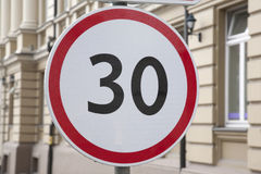 Thirty Kilometer Per Hour Speed Limit Sign Royalty Free Stock Photos