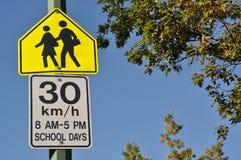 Thirty km per hour sign. Against blue sky stock photos