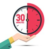 30 Thirty Minutes Clock in Hand vector illustration