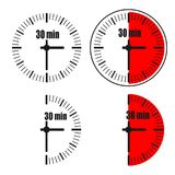 Thirty Minutes Clock on white background. Four options Vector Illustration