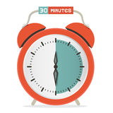 Thirty Minutes Stop Watch - Alarm Clock. Vector Illustration Royalty Free Stock Photo