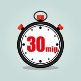 Thirty minutes stopwatch. Illustration of thirty minutes stopwatch isolated icon Royalty Free Stock Photos