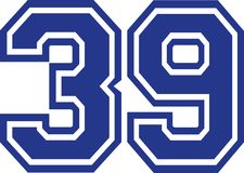 Thirty-nine college number 39. Vector Stock Image