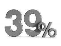 Thirty nine percent on white background. Isolated 3D illustratio. N Royalty Free Stock Photos