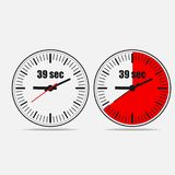 39 seconds clock on gray background. Thirty Nine Seconds Clock on gray background. Two options. 39 seconds timer. Stopwatch icon. Clock icon.  Vector Royalty Free Stock Image