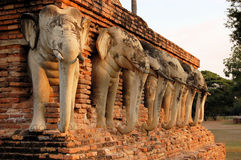 Thirty-Nine stone elephants, Shukhothai, Thailand Royalty Free Stock Images