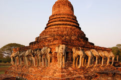 Thirty-Nine stone elephants, Shukhothai, Thailand Royalty Free Stock Image