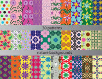 Thirty patterns backgrounds nature stock illustration