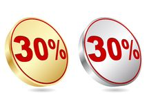 Thirty percent discount icon Royalty Free Stock Photo