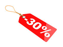 Thirty percent discount tag Stock Photos