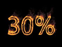 Thirty percent 30%. Fiery numerals with smoke on black background. 3d rendering. Digital illustration. Fiery numerals with smoke on black background. Graphic Royalty Free Stock Image