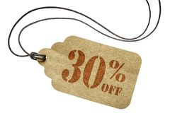 Thirty percent off discount -  paper price tag. Thirty percent off discount  - a paper price tag with twine isolated on white Stock Photography