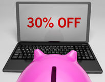 Thirty Percent Off On Notebook Shows Savings Royalty Free Stock Photo