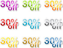 Thirty percent off sticker Royalty Free Stock Image