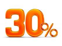 Thirty percent on white background.  3D illustration Stock Image