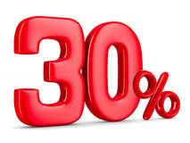 Thirty percent on white background. Isolated 3D Royalty Free Stock Images