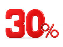 Thirty percent on white background. Isolated 3D illustration Royalty Free Stock Image
