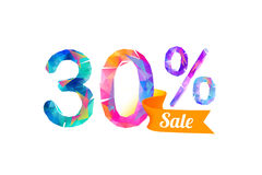 30 thirty percents sale. Vector triangular digits Stock Image