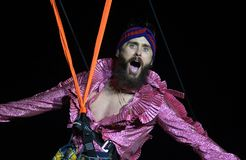 Thirty Seconds to Mars. Singer of the band Thirty Seconds to Mars Jared Leto on the zipline during the Rock in Rio 2017 stock photo