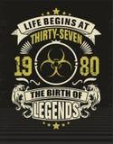 Thirty seven cool design t-shirt. Life begins at thirty seven 1980 royalty free illustration