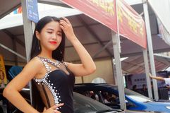 Beautiful models at auto show Stock Image
