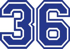 Thirty-six 36 college number. Vector Royalty Free Stock Image