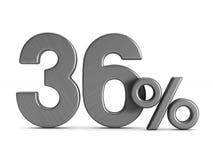 Thirty six percent on white background. Isolated 3D illustration.  Royalty Free Stock Photo