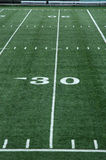 Thirty Yard Line. View of thirty yard line on an artificial turf football field Royalty Free Stock Photo