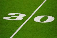 Thirty Yard Line. Thirty yards to go for six points Stock Image