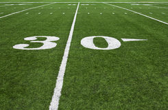 Thirty Yard Line. On an American football field Royalty Free Stock Image