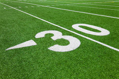 Thirty yard line - football. Thirty yard line - outdoor football field Stock Photo