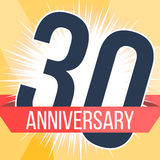 Thirty years anniversary banner. 30th anniversary logo. Vector illustration. Stock Images