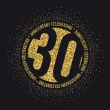 Thirty years anniversary celebration golden logotype. 30th anniversary gold logo. Vector stock illustration