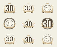 Thirty years anniversary celebration logotype. 30th anniversary logo collection. Royalty Free Stock Photography